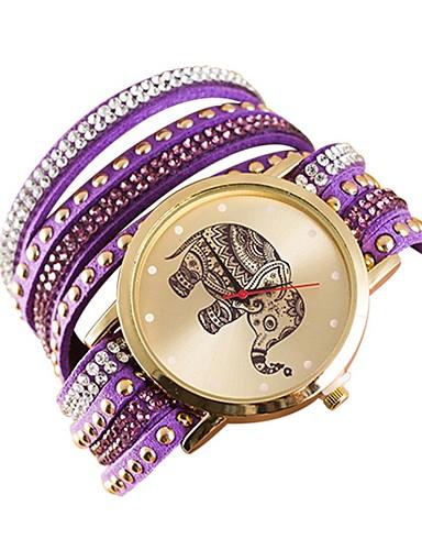 Жен. Часы-подвеска Кварцевый Кожа Повседневные часы Аналоговый Мода - Черный Зеленый Лиловый