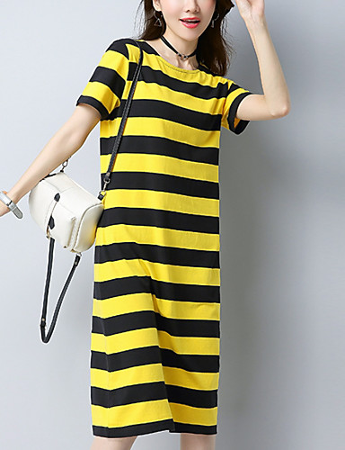 Kadın's Temel Kombinezon Elbise - Çizgili Midi