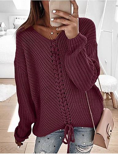 povoljno Ženske majice-Žene Jednobojni Dugih rukava Pullover, V izrez Blushing Pink / Navy Plava / Sive boje XL / XXL / XXXL