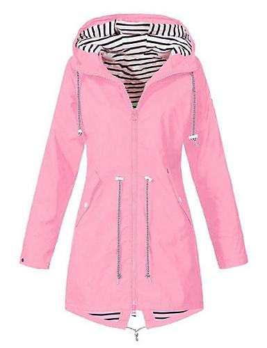 billige Ytterklær til damer-Dame Daglig Lang Trenchcoat, Ensfarget Med hette Langermet Polyester Rosa / Navyblå / Gul XXXL / XXXXL / XXXXXL