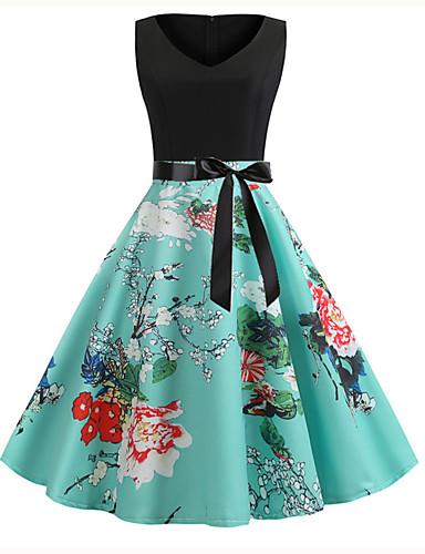 billige Kjoler-Dame Gatemote Elegant Skjede Kjole - Stripet Regnbue Ruter, Trykt mønster Knelang