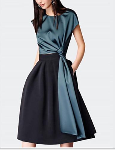 Kadın's Şık İnce A Şekilli Elbise - Zıt Renkli, Modern Stil Diz-boyu