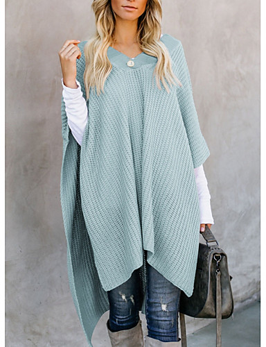 preiswerte Damen Oberteile-Damen Solide Kurze Ärmel Pullover, V-Ausschnitt Schwarz / Rosa / Grau L / XL / XXL