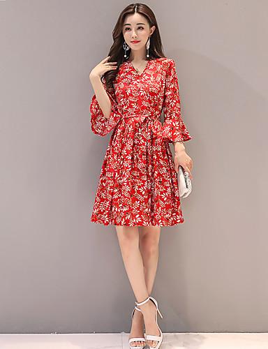 Kadın's A Şekilli Elbise - Çiçekli Diz üstü