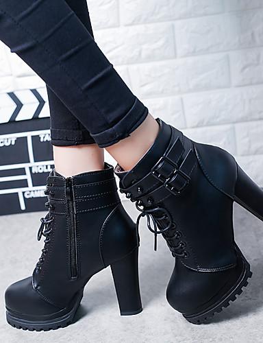 billige Shoes & Bags Must-have-Dame Støvler Tykk hæl Rund Tå Knapp Fuskelær Ankelstøvler Vintage Vinter Svart