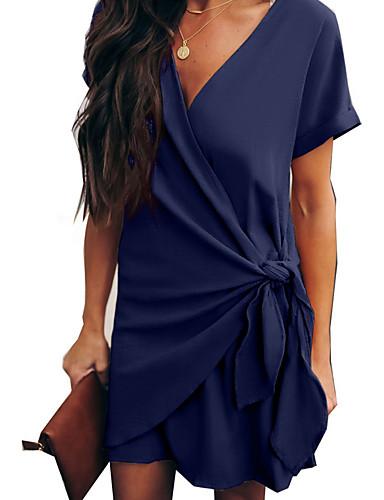 Kadın's Zarif Şifon Elbise - Solid, Kırk Yama Diz üstü