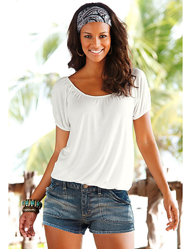 abordables Hauts pour Femme-Tee-shirt Femme, Couleur Pleine Croisé Basique Ample Blanche