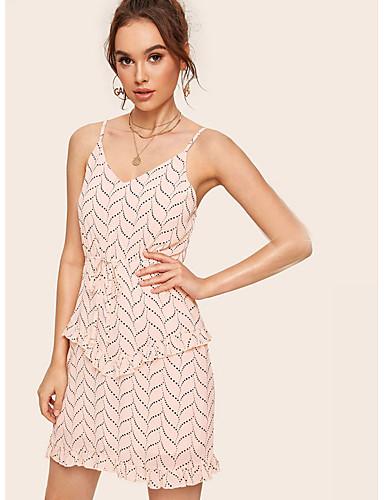 Kadın's Temel A Şekilli Elbise - Geometrik, Desen Diz üstü