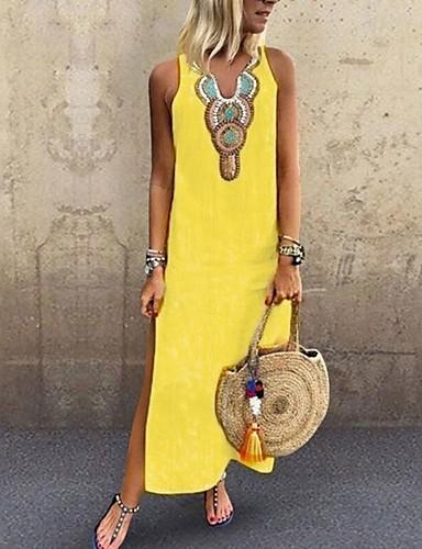 voordelige Maxi-jurken-Dames Boho Elegant Recht Jurk - Effen Tribal, Split Patchwork  Maxi