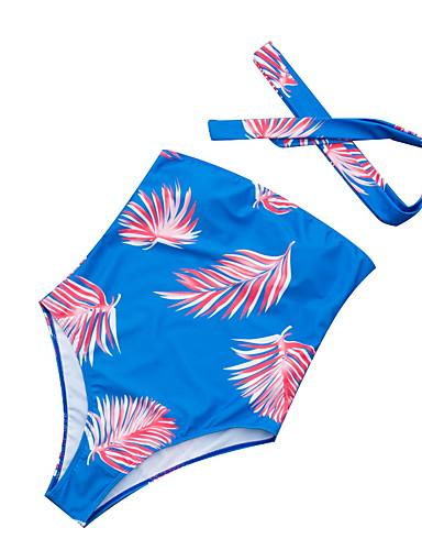 voordelige Nieuwe collectie-Dames Standaard blauw Bandeau Cheeky Eendelig Zwemkleding - Bloemen Blote rug Veters S M L blauw