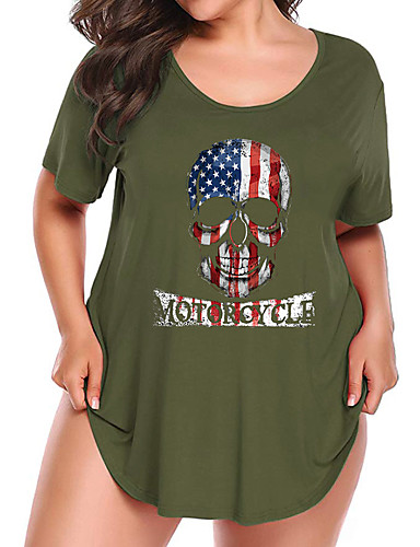 billige Topper til damer-Bomull Løstsittende T-skjorte Dame - Hodeskaller, Trykt mønster Grunnleggende Navyblå