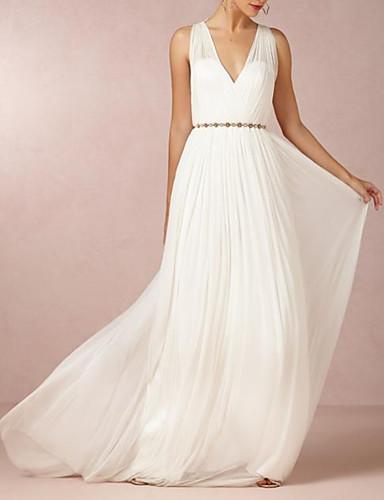 abordables robe mariage civil-Trapèze Col en V Traîne Brosse Mousseline de soie Robes de mariée sur mesure avec Billes par LAN TING Express