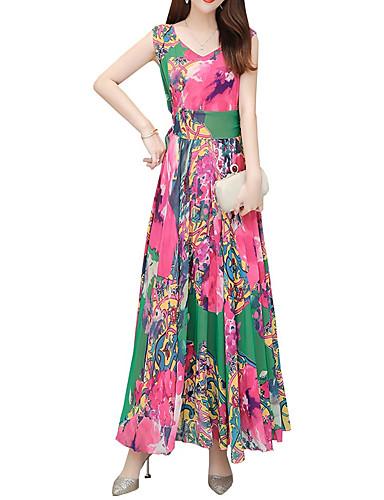 Kadın's Zarif A Şekilli Elbise - Geometrik, Desen Maksi