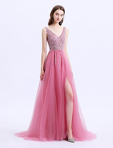ebb84773fb131 A-Line V Neck Sweep / Brush Train Tulle Prom Dress with Beading / Sequin /  Split Front by LAN TING Express