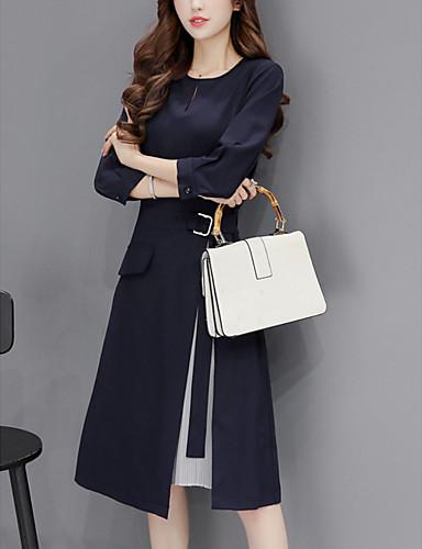 Kadın's Zarif A Şekilli Elbise - Solid Diz-boyu