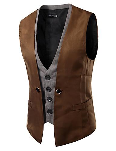 voordelige Herenblazers & kostuums-Heren Vest, Kleurenblok V-hals Polyester Kameel / Marineblauw / Grijs