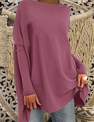 abordables Hauts pour Femme-Tee-shirt Grandes Tailles Femme, Couleur Pleine Basique énorme Rose Poudré Vin