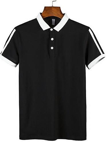voordelige Heren T-shirts & tanktops-Heren Standaard Grote maten - T-shirt Katoen Effen Ronde hals / Overhemdkraag Wit / Korte mouw