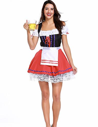 billige Karnevalkostymer-Oktoberfest Dirndl Trachtenkleider Dame Kjole bayerske Kostume Rød