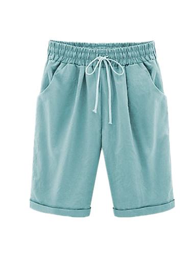 billige Tights til damer-Dame Grunnleggende Store størrelser Chinos / Shorts Bukser - Ensfarget Lapper Bomull Svart Lyseblå Gul M L XL