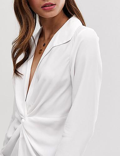 billige Topper til damer-Skjortekrage Skjorte Dame - Ensfarget, Blondér Elegant Hvit