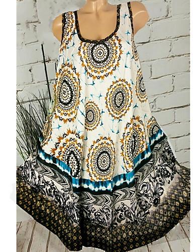 abordables Robes Femme-Femme Mi-long Chemise Robe Fleur Gris Violet Kaki XXXL XXXXL XXXXXL Sans Manches