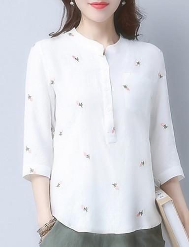 billige Dametopper-Skjorte Dame - Geometrisk, Trykt mønster Grunnleggende Blå