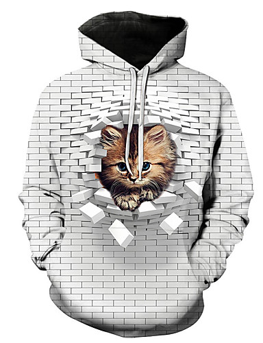cheap PF Style-Men's Casual / Street chic Hoodie - Color Block / 3D / Cartoon White US36 / UK36 / EU44