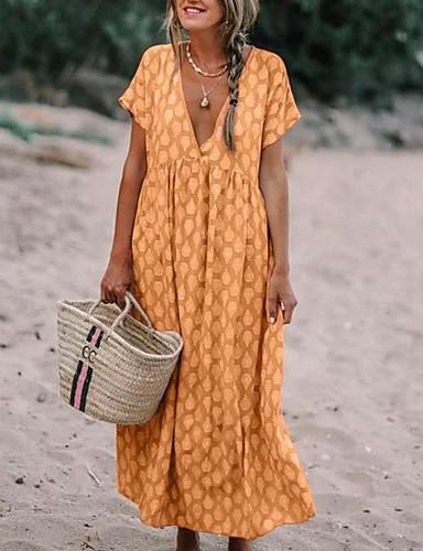 voordelige Maxi-jurken-Dames Boho Abaya Jurk - Geometrisch, Bloemen Print V-hals Maxi
