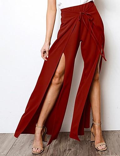 abordables Pantalons Femme-Femme Chic de Rue Ample Pantalon - Couleur Pleine Noir / Bleu / Rouge, Mosaïque Bleu Noir Vin L XL XXL
