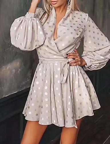 Kadın's A Şekilli Elbise - Yuvarlak Noktalı Mini