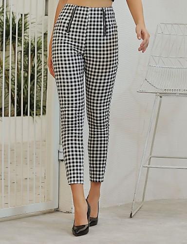 abordables Pantalons Femme-Femme Basique Chino Pantalon - Ecossais / à Carreaux Noir & Blanc, Mosaïque Taille haute Noir S M L