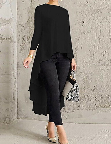 abordables Vestidos de Mujer-Mujer Boho Corte Skater Vestido - Estampado, Un Color Sobre la rodilla