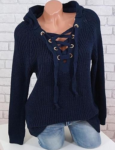 povoljno Ženske majice-Žene Jednobojni Dugih rukava Pullover, V izrez Blushing Pink / Sive boje / Bijela XL / XXL / XXXL