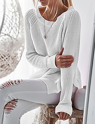 Kadın's Solid Uzun Kollu Kazak, Yuvarlak Yaka Açık Gri / Beyaz / Doğal Pembe S / M / L