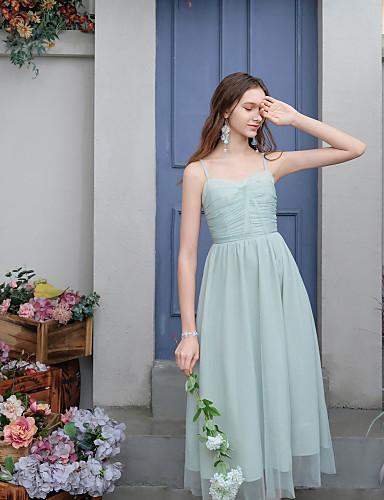 billige Kjoler-Dame Elegant Swing Kjole - Ensfarget, Lapper Midi