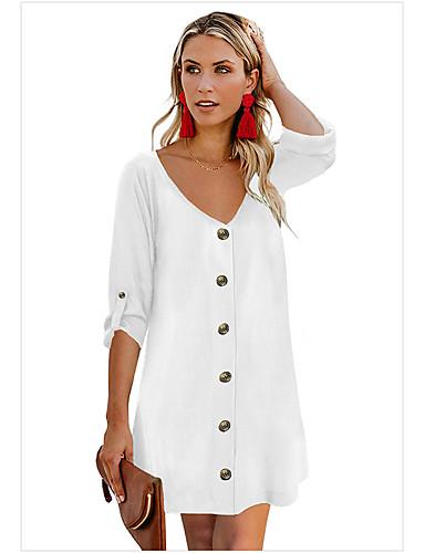 Kadın's Temel A Şekilli Elbise - Solid Diz üstü