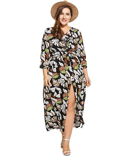 voordelige Grote maten jurken-Dames Elegant A-lijn Jurk - Bloemen, Peplum Split Maxi