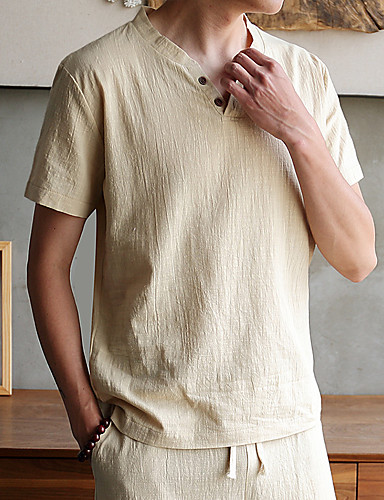 voordelige Heren T-shirts & tanktops-Heren Standaard / Punk & Gothic Grote maten - T-shirt Linnen, Club Effen / Heelal / Grafisch V-hals Marineblauw / Korte mouw