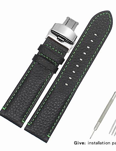 Gerçek Deri / Deri / Buzağı Tüyü Watch Band kayış için Siyah Diğer 2cm / 0.8 İnç / 2.2cm / 0.9 İnç / 2.3cm / 0.91 İnç