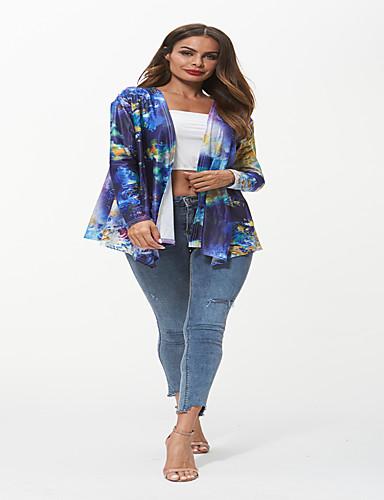 abordables Manteaux & Vestes Femme-Veste de costume Femme, Géométrique / camouflage Imprimé Bohème / Chinoiserie Col en V Ample Bleu & blanc Arc-en-ciel