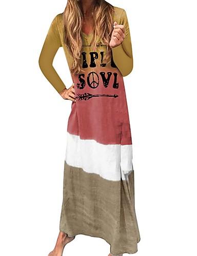 abordables Robes Femme-Femme Simple Maxi Courte Robe Bloc de Couleur Lettre Col en V Automne Violet Bleu Rouge S M L Manches Longues