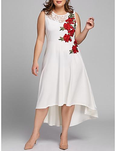 voordelige Grote maten jurken-Dames Vintage Schede Jurk - Bloemen, Kant Geborduurd Maxi