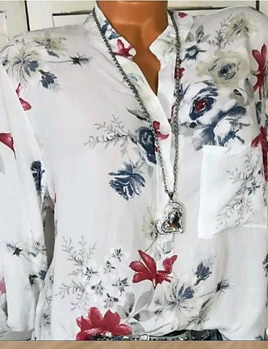 billige Topper til damer-Skjortekrage Skjorte Dame - Blomstret, Lapper / Trykt mønster Grunnleggende Ut på byen Blå