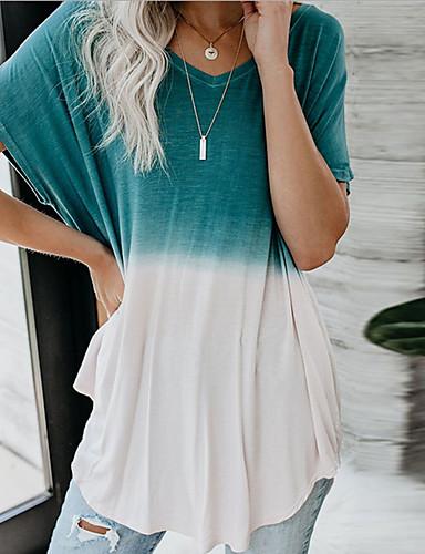 cheap Women's Tops-Women's Casual Basic T-shirt - Color Block Print Blue US6 / UK10 / EU38