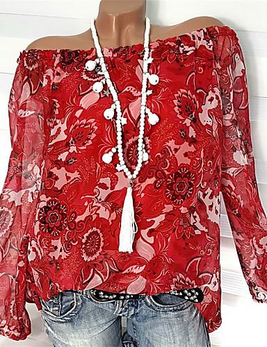 abordables Hauts pour Femmes-Chemise Grandes Tailles Femme, Fleur - Coton Imprimé Elégant Epaules Dénudées Ample Orange