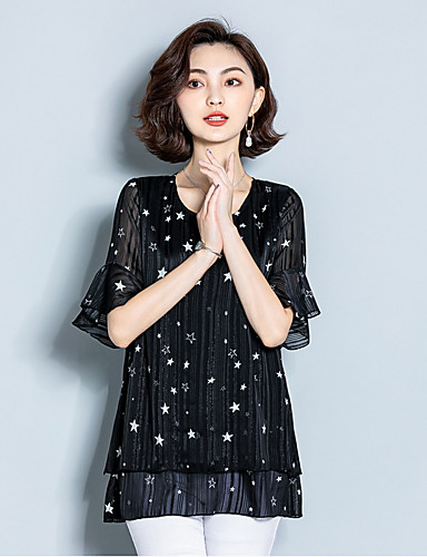 זול חולצות לנשים-גיאומטרי אלגנטית חולצה - בגדי ריקוד נשים סרוג / דפוס לבן US12 / UK16 / EU44