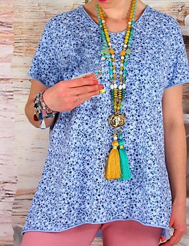 abordables Hauts pour Femmes-Tee-shirt Grandes Tailles Femme, Points Polka - Coton Mosaïque / Imprimé Bohème Col en V Jaune