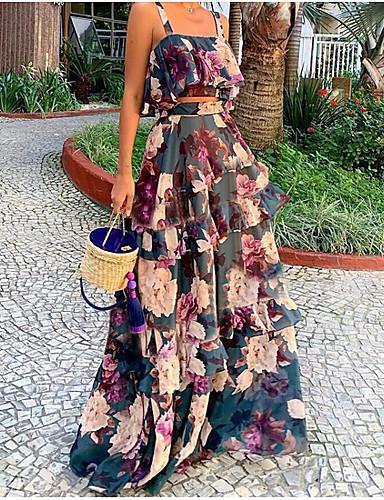 billige Blomstermønster-Dame Gatemote Elegant Swing Kjole - Blomstret, Lapper Midi