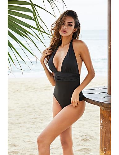 voordelige Nieuwe collectie-Dames Zwart Halter Bikini Zwemkleding - Effen S M L Zwart